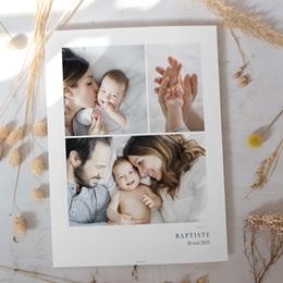 Affiche Déco Chambre Enfant Multiphotos du bonheur, initiale fond bleu gratuit