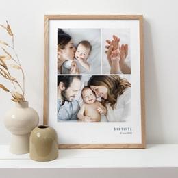 Affiche Déco Chambre Enfant Multiphotos du bonheur, initiale fond bleu pas cher