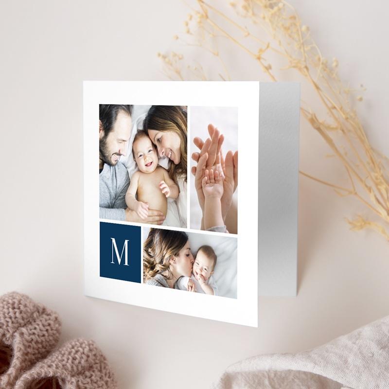 Faire-part de Naissance Multiphotos du bonheur, initiale fond bleu gratuit