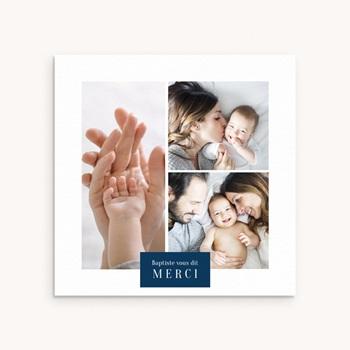 Carte de Remerciement Naissance Multiphotos du bonheur, initiale fond bleu original