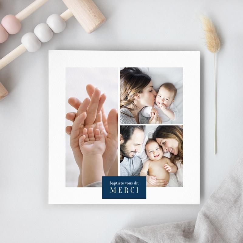 Carte de Remerciement Naissance Multiphotos du bonheur, initiale fond bleu