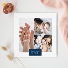 Carte de Remerciement Naissance Multiphotos du bonheur, initiale fond bleu gratuit