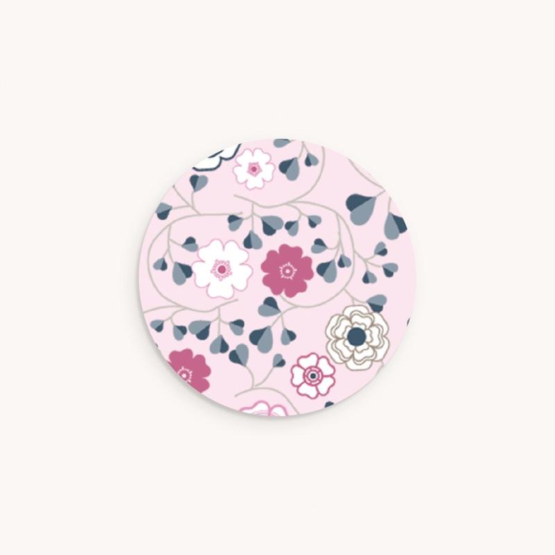 Sticker Enveloppe Naissance Liberty rose fille, Fleurs