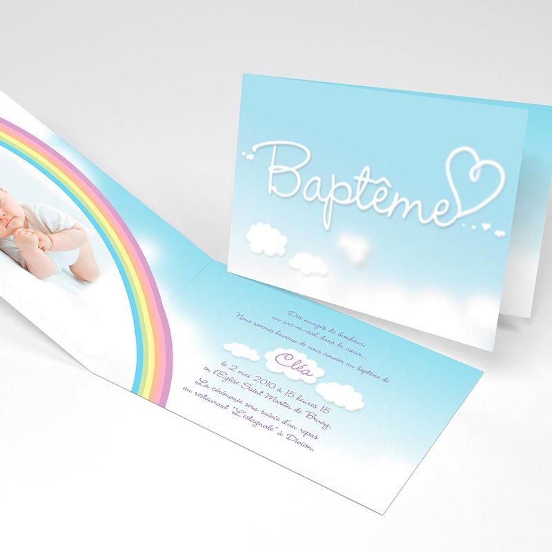 Faire-part de Baptême Ciel Baptême Fille