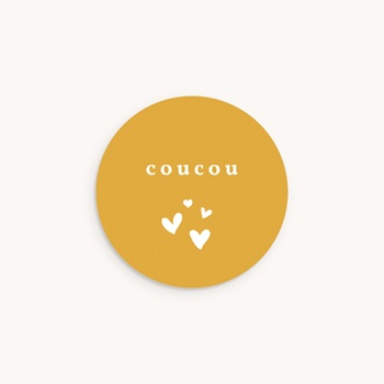 Sticker Enveloppe Naissance Coucou Moutarde