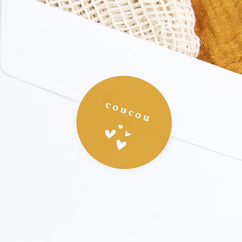 Sticker Enveloppe Naissance Coucou Moutarde gratuit