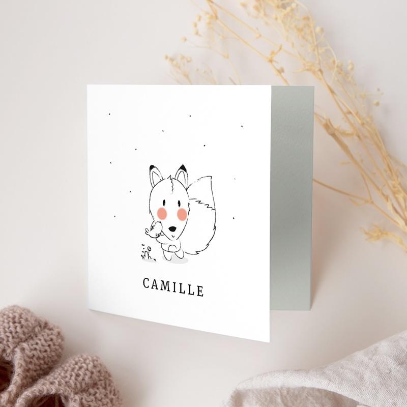 Faire-part de Naissance Petit renard oiseau gratuit