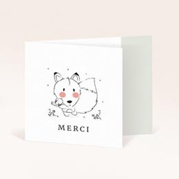 Carte de Remerciement Naissance Petit renard oiseau