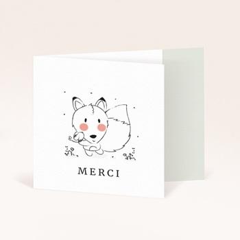 Carte de Remerciement Naissance Petit renard oiseau pas cher