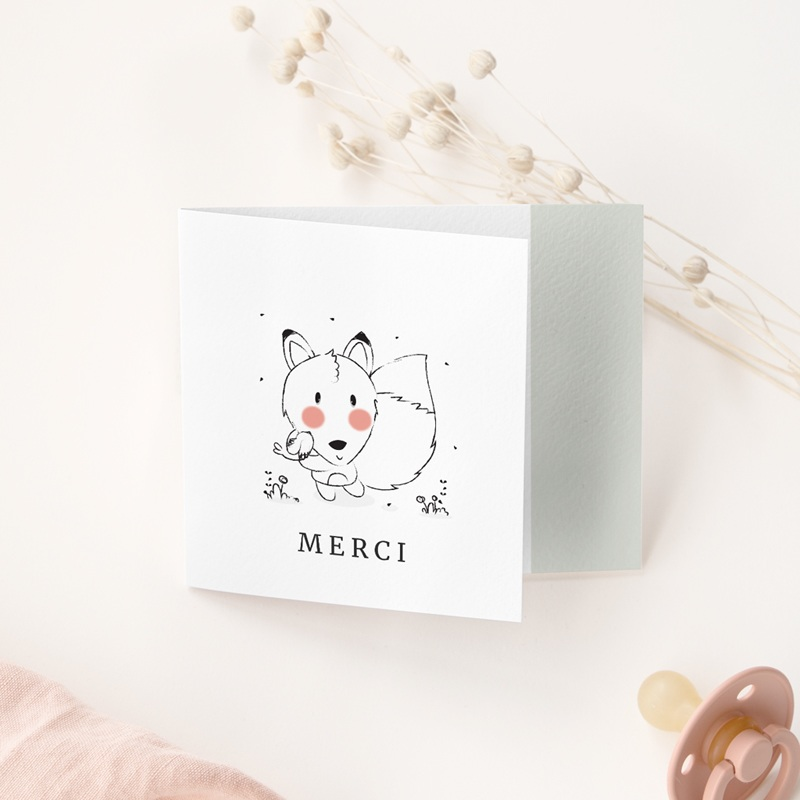 Carte de Remerciement Naissance Petit renard oiseau gratuit