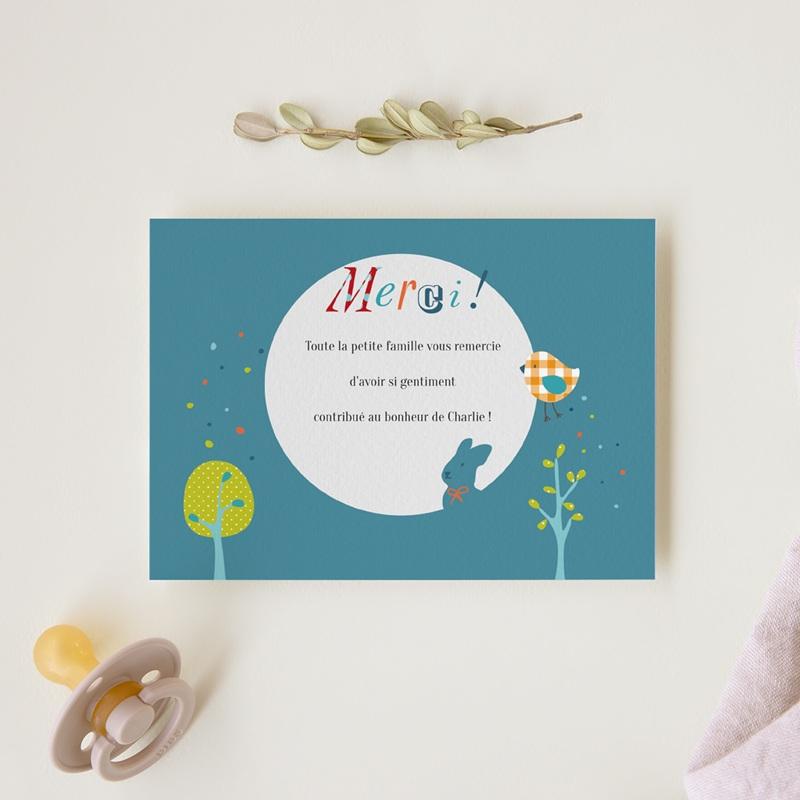 Carte de Remerciement Naissance Merveille bleu gratuit