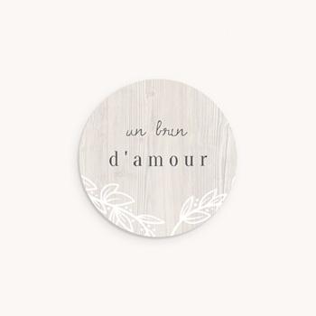 Sticker Enveloppe Naissance Tendance Bois, 4,5 cm personnalisé