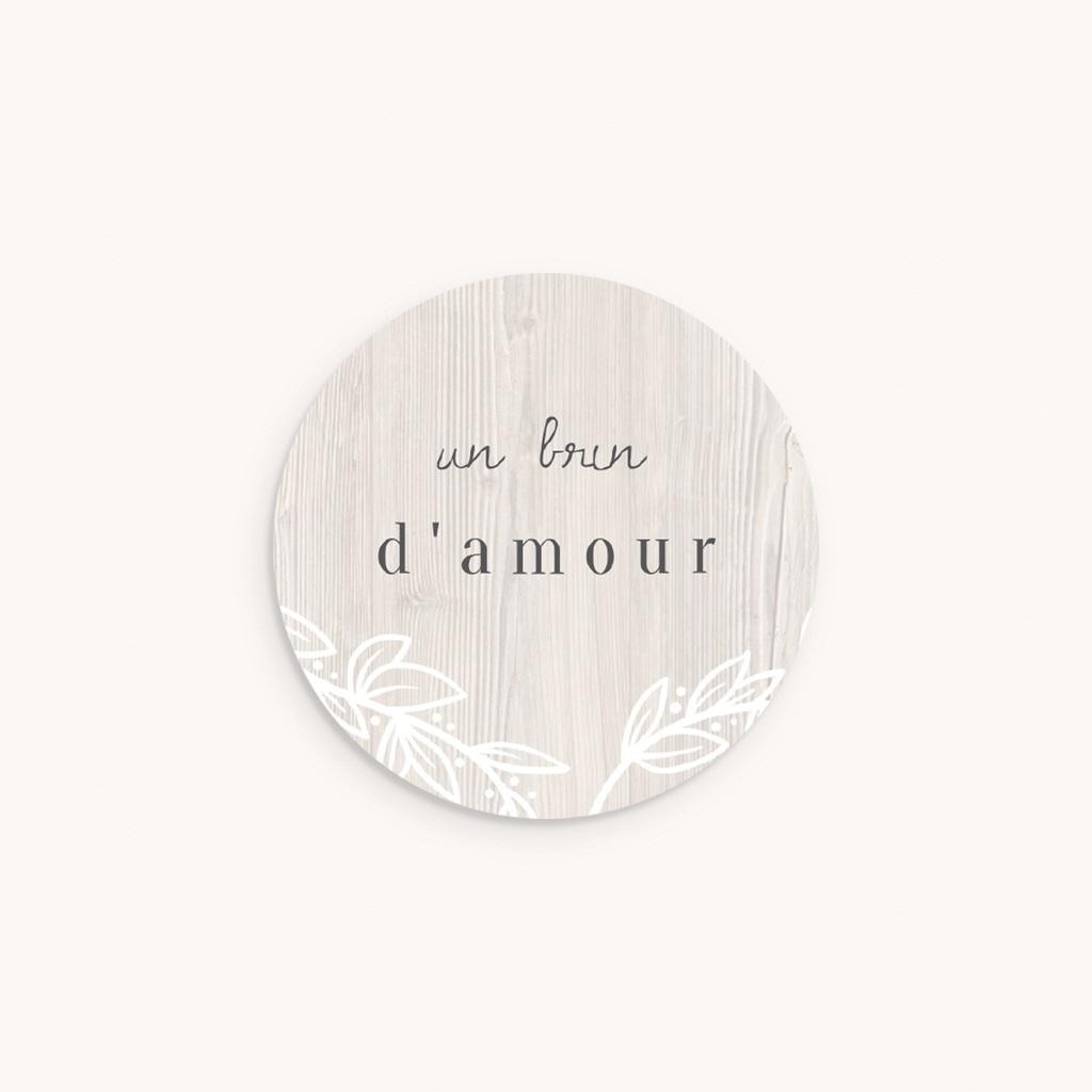 Sticker Enveloppe Naissance Tendance Bois, 4,5 cm