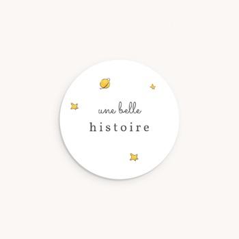 Sticker Enveloppe Naissance La planète du Petit Prince, étoiles personnalisé