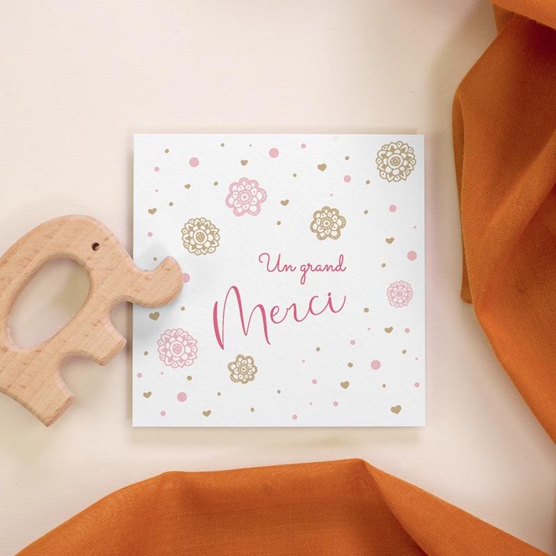 Carte de Remerciement Naissance Paillette