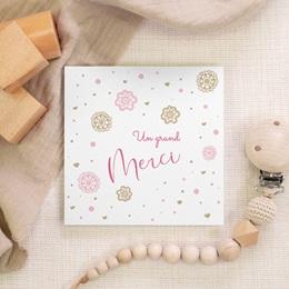 Carte de Remerciement Naissance Paillette gratuit