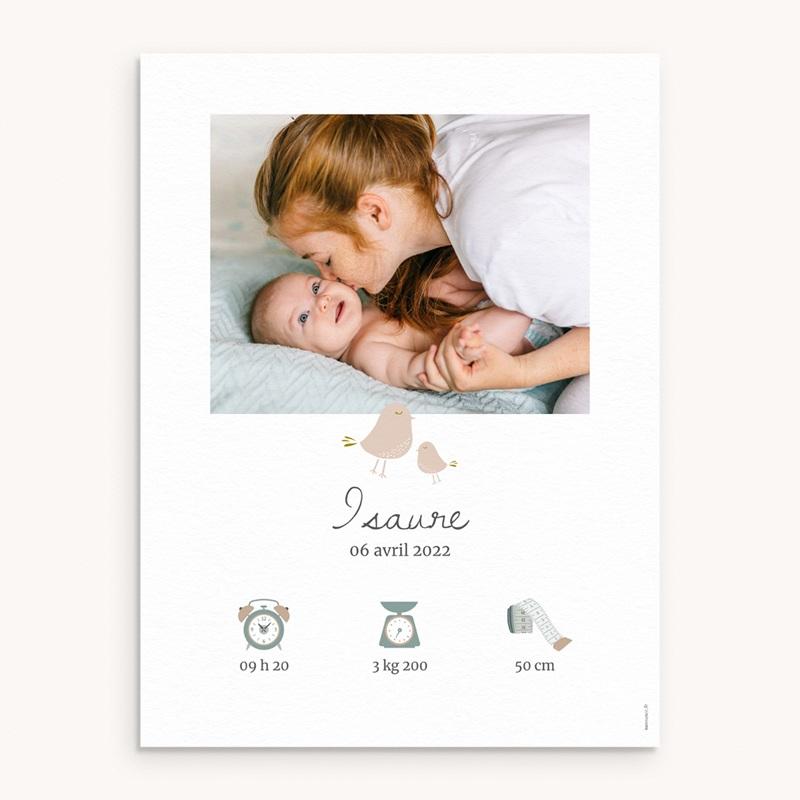 Affiche Déco Chambre Enfant Avec Amour, oiseaux beiges