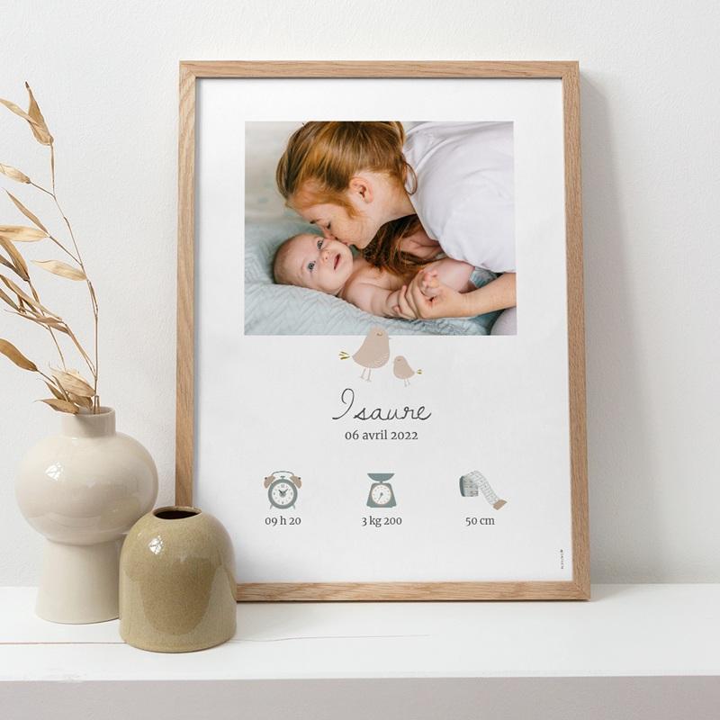 Affiche Déco Chambre Enfant Avec Amour, oiseaux beiges pas cher