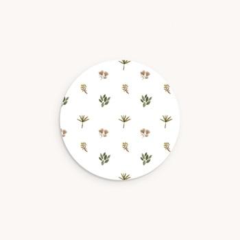 Sticker Enveloppe Baptême Ourson des bois, Motif floral