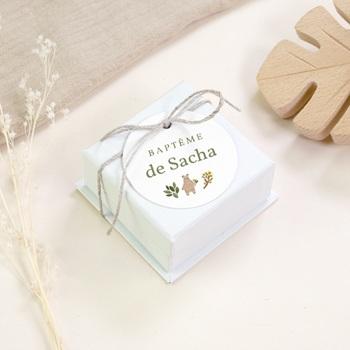Étiquettes Cadeau Baptême Ourson des bois, souvenir pas cher