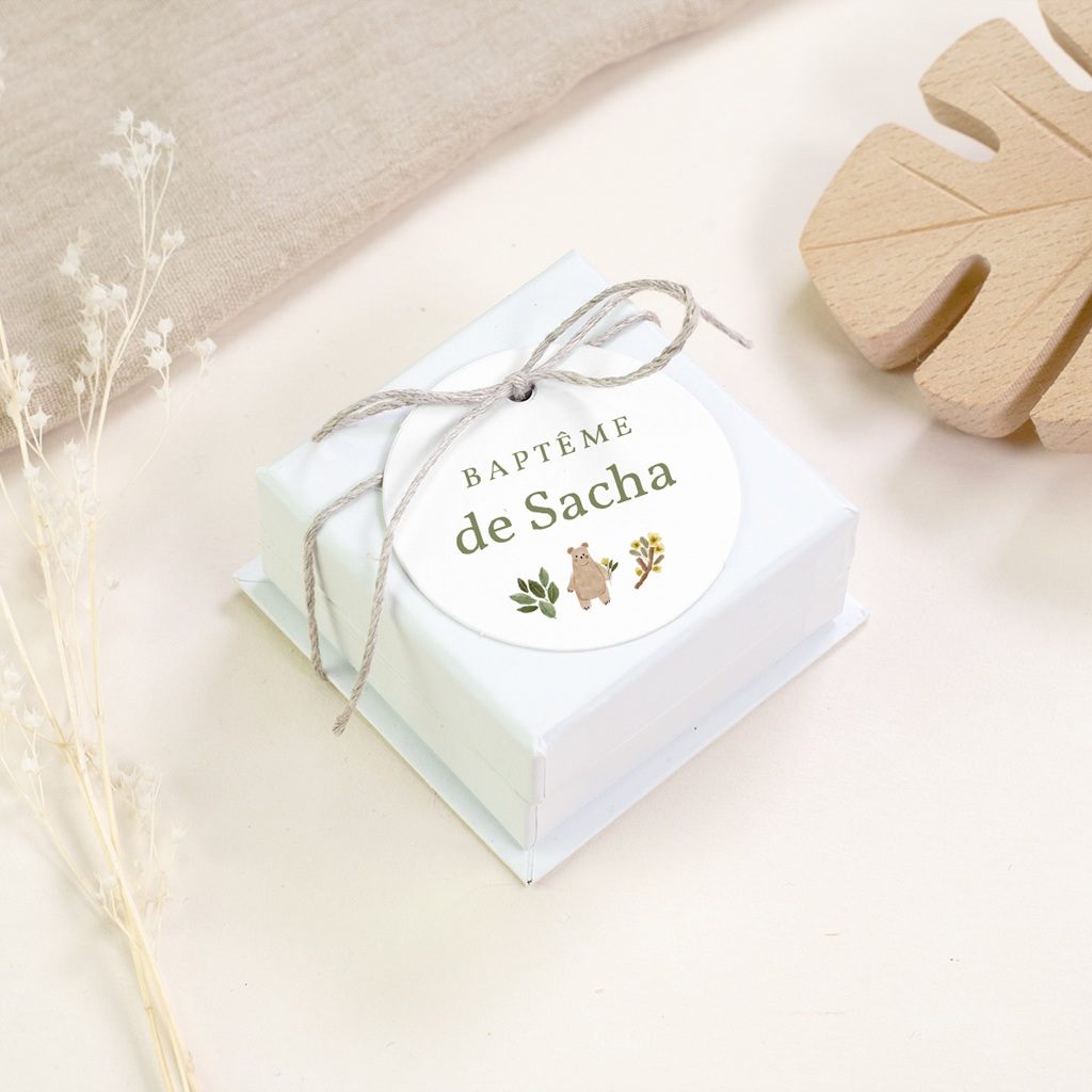 Étiquettes Cadeau Baptême Ourson des bois, souvenir