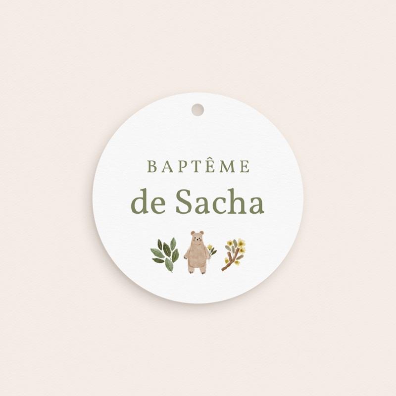 Étiquettes Cadeau Baptême Ourson des bois, souvenir gratuit