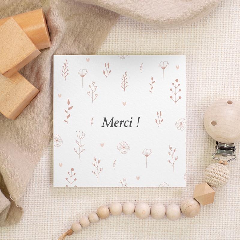 Carte de Remerciement Baptême Petit Herbier, 10 x 10 gratuit
