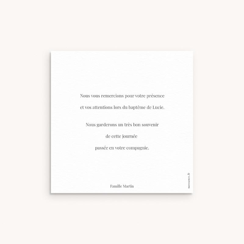 Carte de Remerciement Baptême Petit Herbier, 10 x 10 pas cher