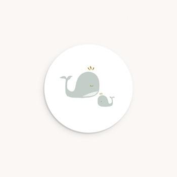 Sticker Enveloppe Baptême Avec Amour, tendres baleines