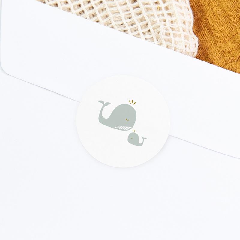 Sticker Enveloppe Baptême Avec Amour, tendres baleines gratuit