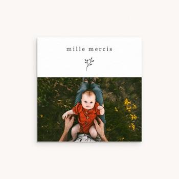 Carte de Remerciement Baptême Sweet Chic gris beige, 10 x 10 cm
