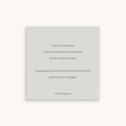 Carte de Remerciement Baptême Sweet Chic gris beige, 10 x 10 cm pas cher