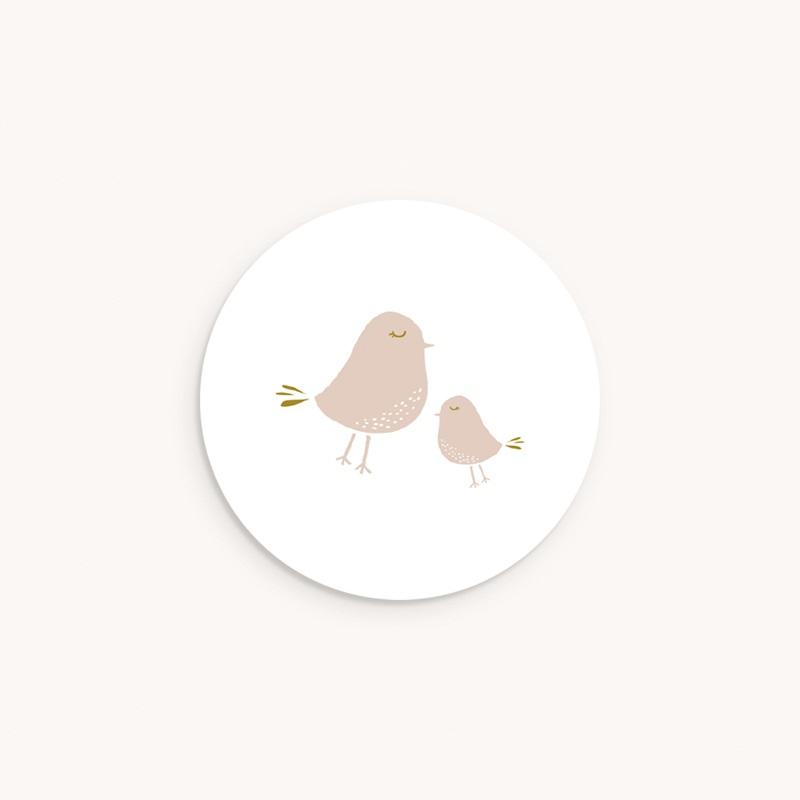 Sticker Enveloppe Baptême Avec Amour, Piou piou