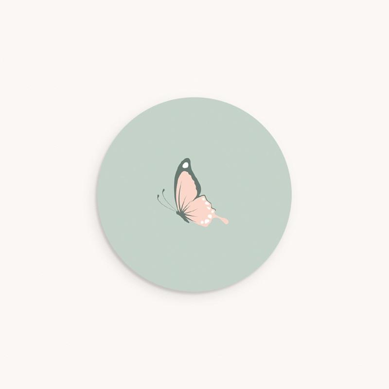 Sticker Enveloppe Baptême Bisou d'un papillon, 4,5 cm