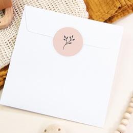 Sticker Enveloppe Baptême Sweet brin, fond rose pas cher