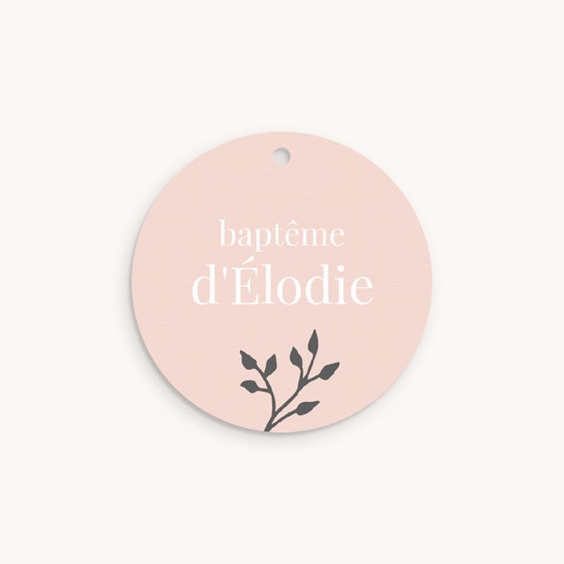Étiquettes Cadeau Baptême Sweet chic rose, photo & brin