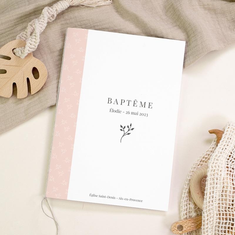 Livret de Messe Baptême Sweet Chic Rose, Couverture gratuit
