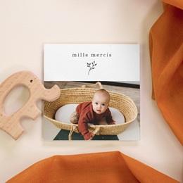 Carte de Remerciement Baptême Sweet chic Rose, 10 x 10 cm