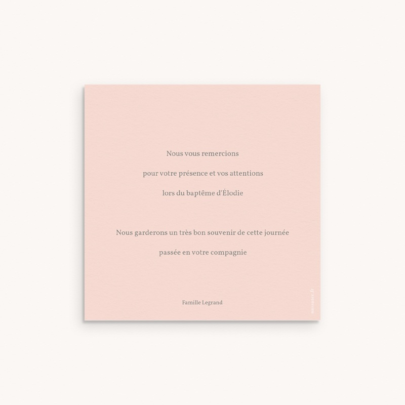 Carte de Remerciement Baptême Sweet chic Rose, 10 x 10 cm pas cher