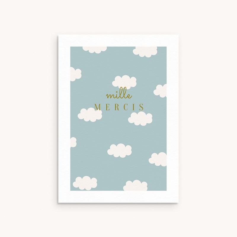 Carte de Remerciement Naissance Septième Ciel, Motif Nuages