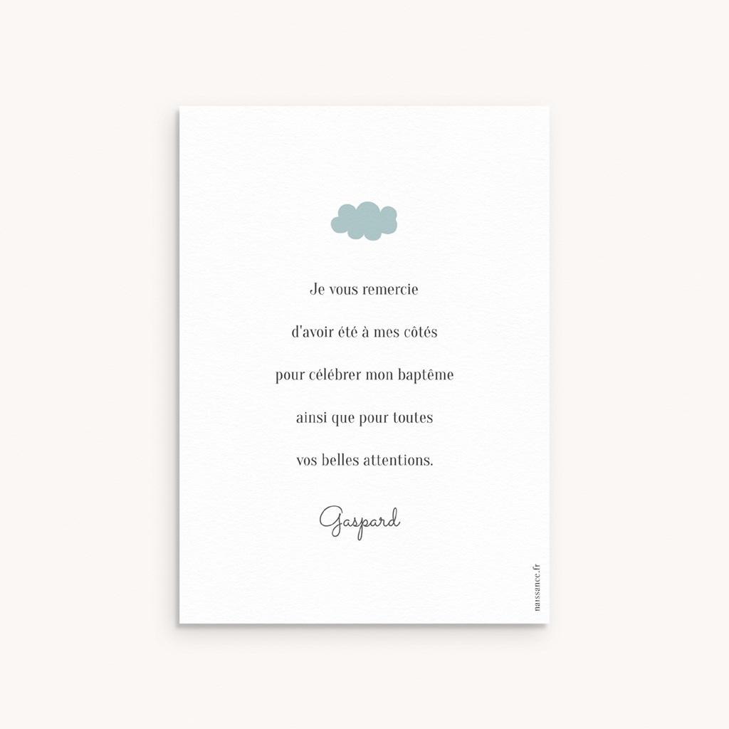 Carte de Remerciement Naissance Septième Ciel, Motif Nuages pas cher