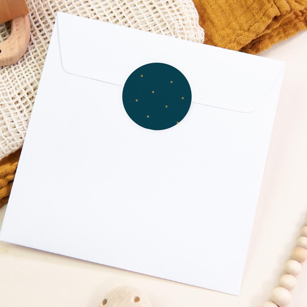 Sticker Enveloppe Baptême Céleste à pois pas cher