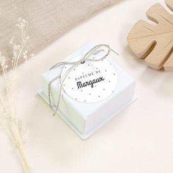 Étiquettes Cadeau Baptême Céleste à pois, souvenir original