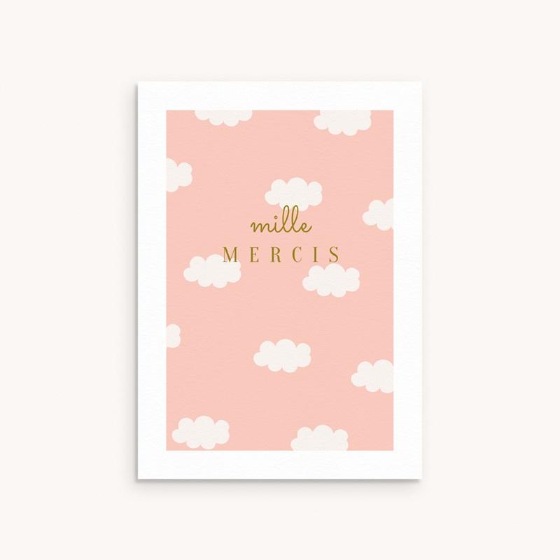 Carte de Remerciement Baptême Septième Ciel Rose, Motif Nuages