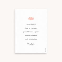 Carte de Remerciement Baptême Septième Ciel Rose, Motif Nuages pas cher