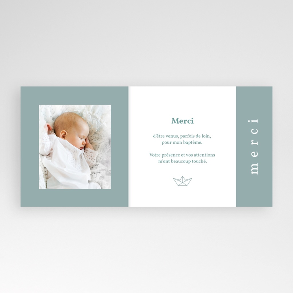 Carte de Remerciement Baptême Petit Bateau pas cher
