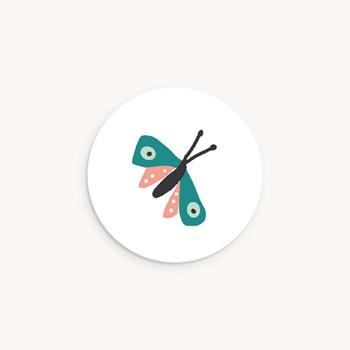 Sticker Enveloppe Baptême Papillon coloré, 4,5 cm
