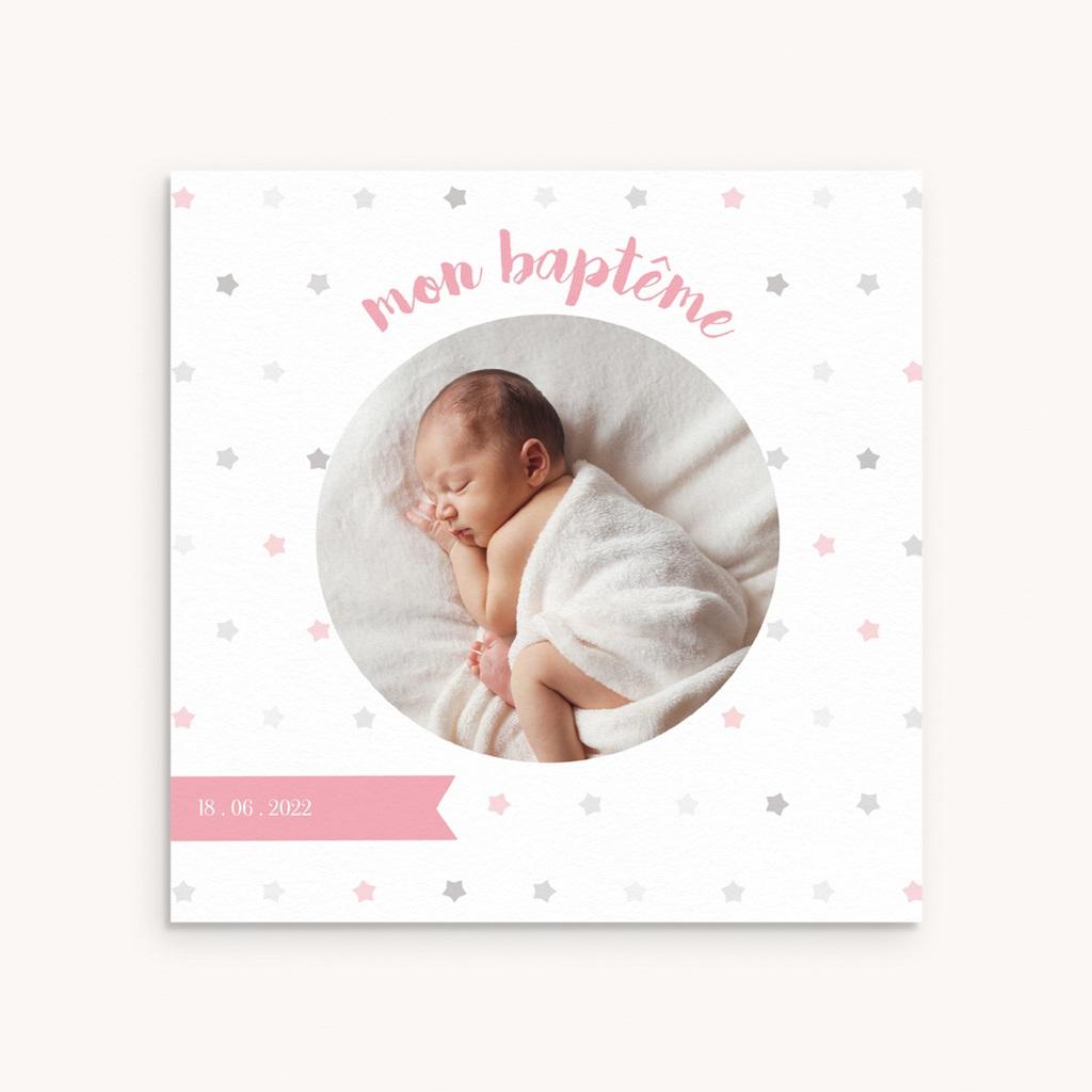 Carte de Remerciement Baptême étoiles Fille