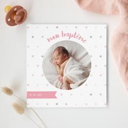 Carte de Remerciement Baptême étoiles Fille gratuit