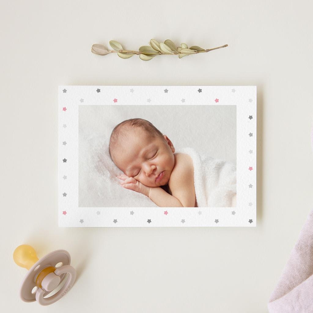 Carte de Remerciement Baptême Etoiles Fille gratuit